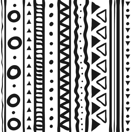 Ilustración de Tribal patterns  line hand drawn doodle style isolated on white background. Vector illustration. - Imagen libre de derechos