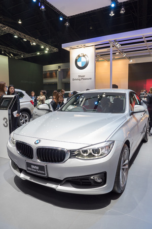 BANGKOK - DECEMBER 10: BMW 320d Gran turismo car on display at the 32nd Thailand International Motor Expo 2015 on December 10, 2015 in Bangkok, Thailand