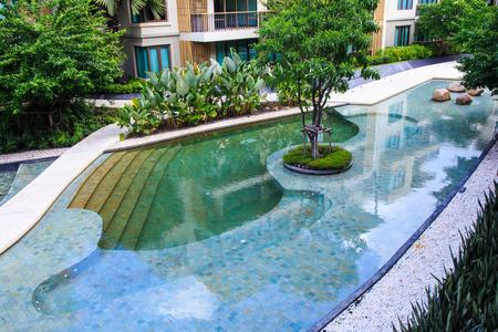 Residential Inground Swimming Pool in Backyard: Lizenzfreie ...