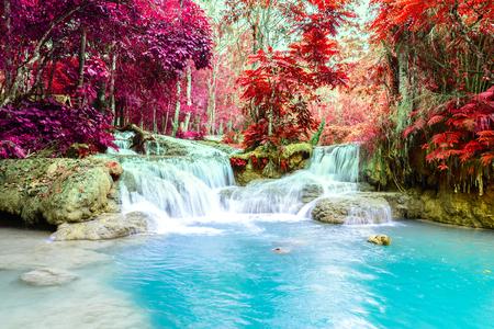 Rainforest waterfall, Tat Kuang Si Waterfall at Luang Prabang, Loas.