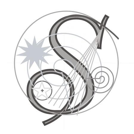 Decorative architectural letter for design