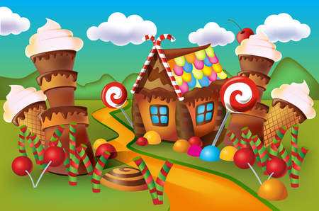 Illustration pour Illustration of sweet house of cookies and candy on a background of meadows and growing caramels. - image libre de droit