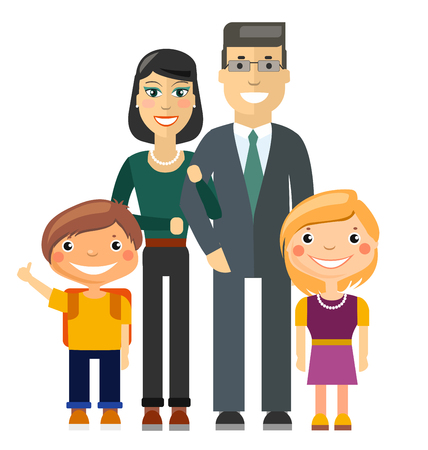 Young Family - Father, Mother, Son and Daughter. Flat Illustration