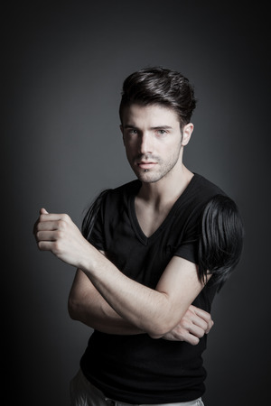 attractive male fashion model in studio 01