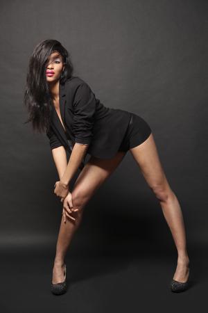 beautiful girl dancer posing in studio