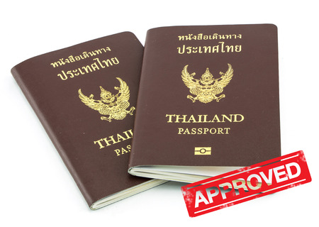 Thailand passport visa stamp isolated