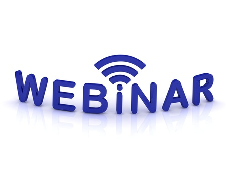 Photo pour webinar sign with the antenna with blue letters on isolated white background - image libre de droit