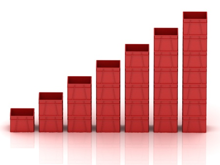Business graph with red plastic vegetable crates