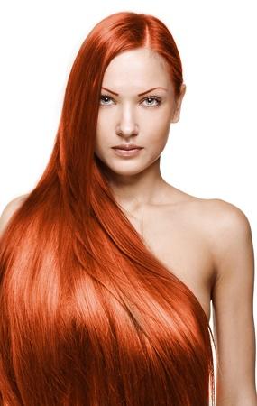 beautiful girl with beautiful long brown healthy shiny hair