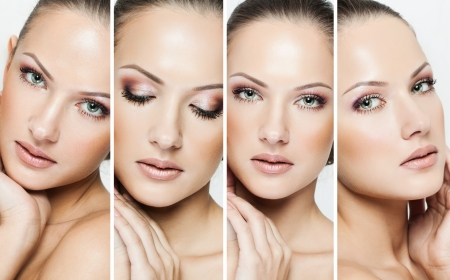 Photo for collage of a beautiful woman with perfect clean skin - Royalty Free Image