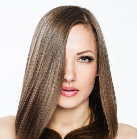 Photo pour Beautiful Woman with  Long Hair , beauty woman model , clean skin face , glamour makeup - image libre de droit