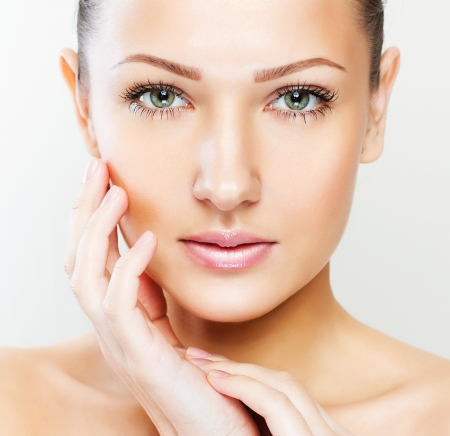 Photo for closeup portrait of a beautiful woman with beauty face and clean face skin , glamour makeup - Royalty Free Image