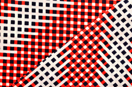 Red, white and blue checked print as background.