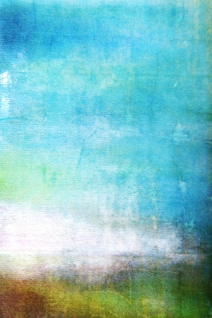 Abstract textured background white brown and green patterns on blue sky-like backdrop. Fo