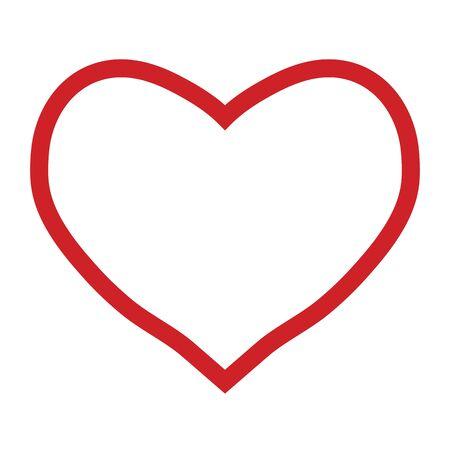Illustration pour Red heart outline on a white background, valentines day, vector illustration - image libre de droit
