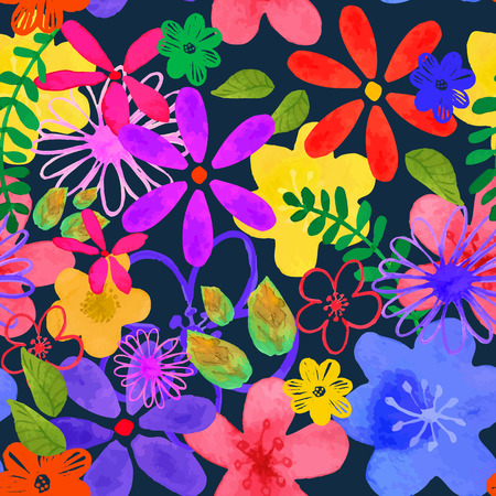 Vector illustration of floral seamless. Isolated yellow, pink, purple , lilac, blue flowers and green leaves on a dark blue background, drawing watercolorのイラスト素材