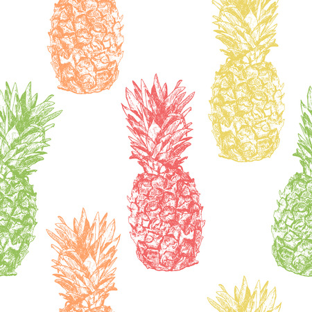 Seamless pattern with pineapple hand drawn in sketch style, isol