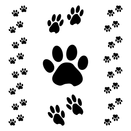 Illustration for Black animal paw track. Isometric effect. Vector illustration - Royalty Free Image