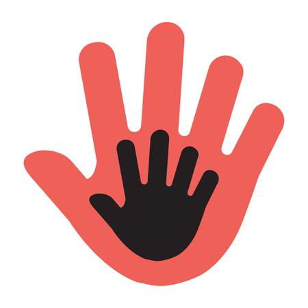 Illustration pour Hand of a child in an adult hand, red and black illustration. Vector illustration - image libre de droit