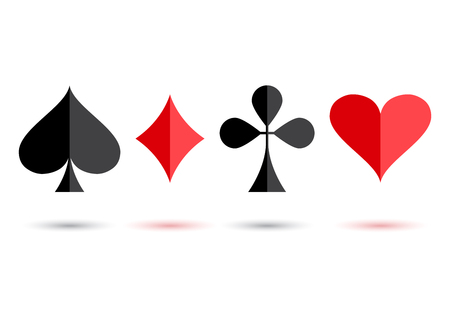 Red and black poker card suit: heart, club, diamond and spade with colored shadow on white background. Vector illustration