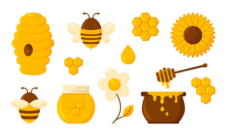 Illustration for Honey vector icon set, honeycomb, bee, hive, hexagon, jar, pot, drop, syrup toast and flowers. Organic food design concept isolated on white background. Sweets illustration - Royalty Free Image