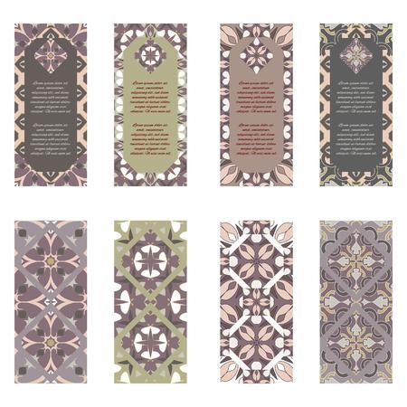 Illustration pour Vector set of colorful vertical banners for business and invitation. Portuguese, Azulejo, Moroccan; Arabic; asian ornaments. Geometric and floral motifs - image libre de droit