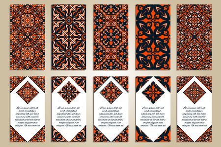 Illustration pour Vector set of colorful vertical banners for business and invitation. Ethnic asian ornaments. Ornamental design in oriental style. Geometric and floral motifs - image libre de droit