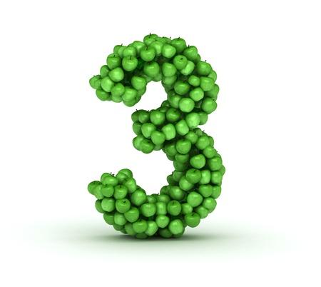 Number 3, alphabet of green apples