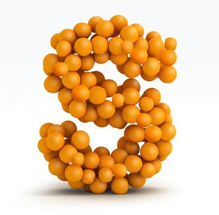 Letter S, font of orange citrus fruits on white background