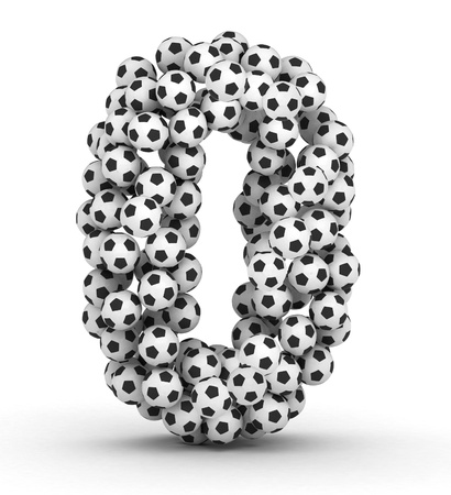 Number 0 from soccer football balls isolated on white background