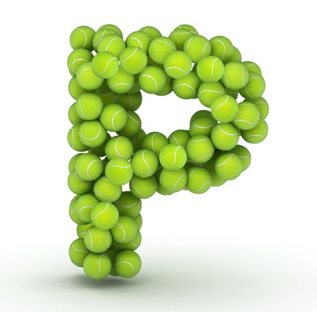 Letter P, alphabet of tennis balls