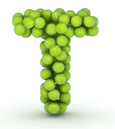 Letter T, alphabet of tennis balls