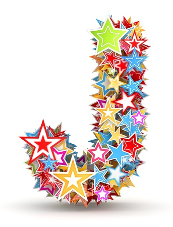 Letter J, from bright colored holiday stars staked