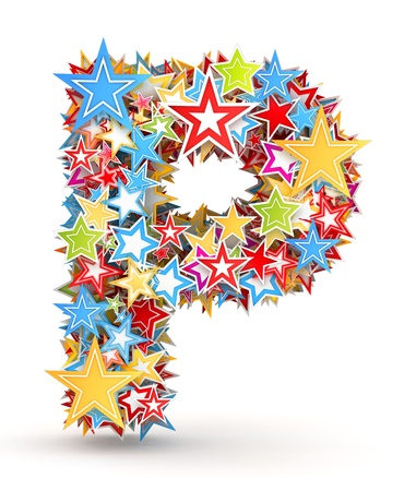 Letter P, from bright colored holiday stars staked