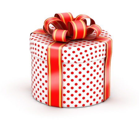 Rounded cylindrical gift  with red ribbons and red dot texture paper