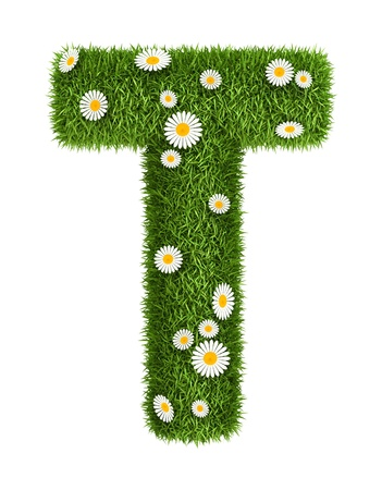 Letter T photo realistic grass font with flower camomile