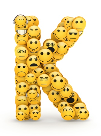 Letter K compiled from Emoticons smiles with different emotions