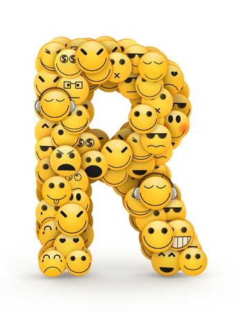 Letter R compiled from Emoticons smiles with different emotions