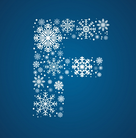 Letter F, maked from frosty snowflakes, vector font