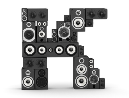 Letter K from black hi-fi speakers sound systems
