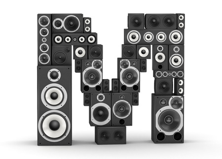 Letter M from black hi-fi speakers sound systems