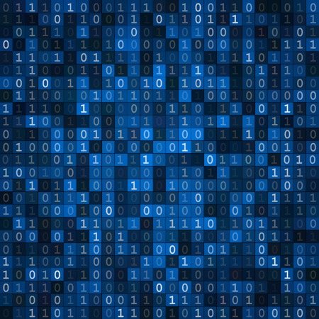 Blue cryptography encoding screen computer binary code pixels  background
