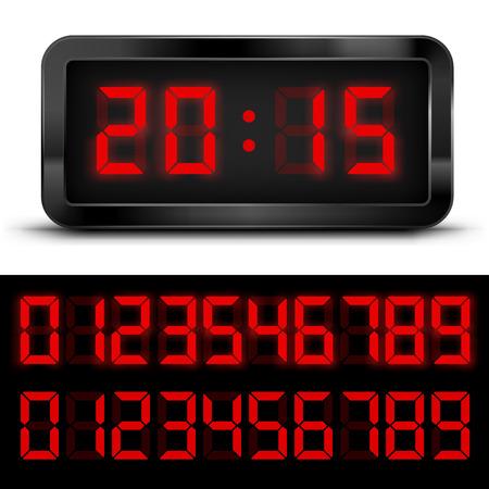 Digital  Clock with Liquid Crystal  Display  Red. Vector illustration