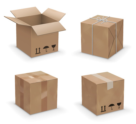 Set of recycle brown yellow box packaging. vector illustration