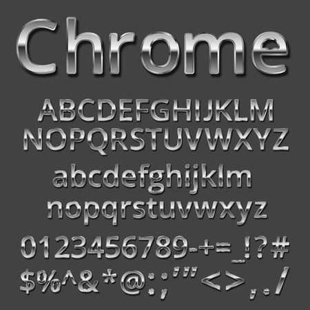 Vector Chrome or Silver metallic font set. Uppercase and lowercase letters, numbers and symbols