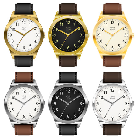 Gold watches, six classic design expensive watch set. Vector illustration.