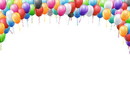 Ilustración de Colored balloons  frame A4 proportions page template for  birthday or party invitation. Vector background - Imagen libre de derechos