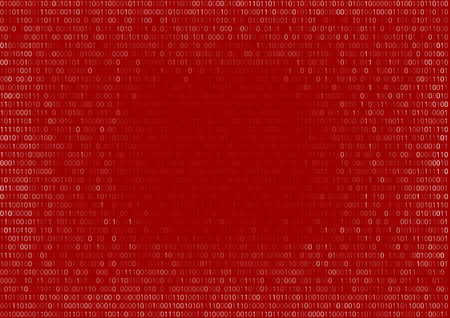 Illustration for Gradient fall off binary code screen listing table cypher red, vector background - Royalty Free Image