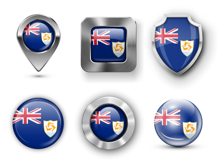 Anguilla Metal and Glass Flag Badges, Buttons, Map marker pin and Shields. Vector illustrations