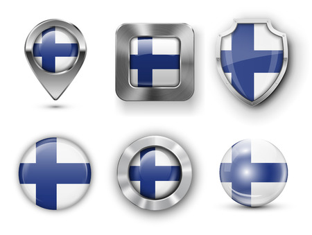 Finland Metal and Glass Flag Badges, Buttons, Map marker pin and Shields. Vector illustrations